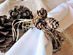 Pine Cone Napkin Rings Autumn Fall Napkin Rings by RedGarnetHome