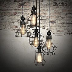 Electro_bp;rustic Barn Metal Chandelier Max 200w with 5 Light Black Finish Bulb #Electro_BP