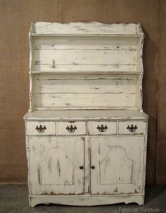 "Painted Furniture, White Hutch ~ can't believe how beautiful this is considering the ho hum ""before"" picture."