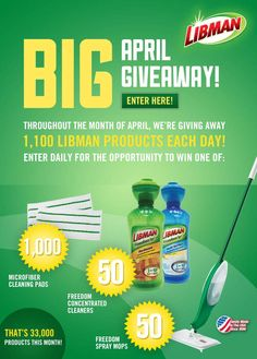 Enter To Win 1 Of 33,000 Free Libman Products (Mops, Cleaners, And Cleaning Pads)