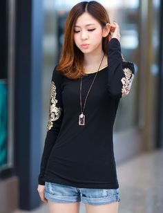 Korean Style Round Neck Long Sleeve Tee For Women, Shop online for $11.20 Cheap T-Shirts code 714047 - Eastclothes.com