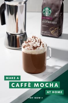 This Starbucks classic combines espresso, bittersweet mocha sauce and steamed milk for a sweetly satisfying coffee. Top it off with whipped cream and chocolate shavings for a delicious mug of coffee. Chocolate Shavings, Starbucks Recipes, Starbucks Drinks, Coffee Recipes, Coffee Drinks, Whipped Cream, Mocha, Yummy Drinks, Yummy Food