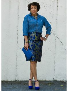 """Denim + brocade  On Erica Bunker. """"Brocade gives the denim shirt glamour,"""" says Brad. """"This can go from desk to dinner."""""""