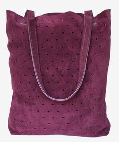 Suede Dot Tote in a dreamy Burgundy. $155 on www.mooreaseal.com