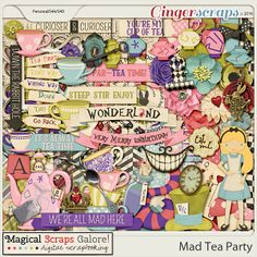 {Mad Tea Party} Digital Scrapbook kit by Magical Scraps Galore Disney Scrapbook, Scrapbook Paper, Scrapbook Kit, Scrapbook Layouts, Party Kit, Tea Party, Queen Of Hearts Card, Paper Doilies, My Cup Of Tea