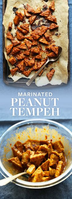 EASY Marinated Peanut Baked Tempeh! 7 ingredients, marinated then baked! Saucy, spicy, sweet and SO delicious! #vegan #glutenfree #tempeh #recipe #minimalistbaker