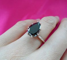 GORGEOUS 3 Carat Natural Black Diamond Pear Engagement Ring 8 Sterling Silver SALE TODAY