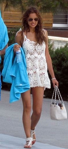 Russian Model Irina Shayk in a crochet dress