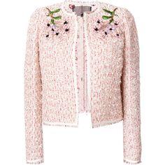 Giambattista Valli embellished tweed jacket (€2.720) ❤ liked on Polyvore featuring outerwear, jackets, colorful jackets, multi-color leather jackets, giambattista valli, embellished jacket and pink jacket
