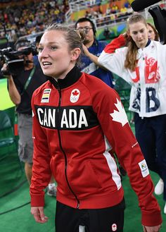 #RIO2016 Gold medalist Rosannagh Maclennan of Canada reacts after winning the Trampoline Gymnastics Women's Final on Day 7 of the Rio 2016 Olympic Games at...