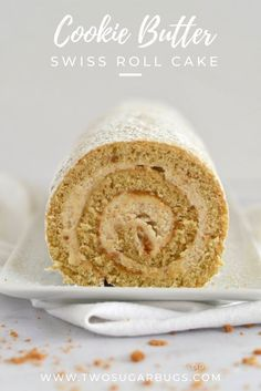 Cookie Butter Swiss Roll Cake ~ This Swiss roll is exploding with cookie butter flavor! From Biscoff cookies in the cake batter and frosting to a layer of pure cookie butter spread in between. You will love this pretty spiraled cake recipe! Biscoff Recipes, Baking Recipes, Cake Roll Recipes, Dessert Recipes, Food Cakes, Cupcake Cakes, Cupcakes, Bundt Cakes, Swiss Roll Cakes