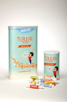 very plain jane and light hearted packaging.  I like how the word tubular is connected and flows into each word like a pathway.