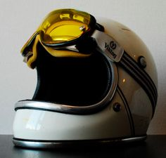 vintage helmet and goggles