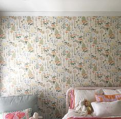 Have been dying to use the collection! The result is as sweet as the little girl who sleeps here. New Homes, Textiles, Curtains, Interior Design, Wallpaper, Sweet, House, Collection, Home Decor