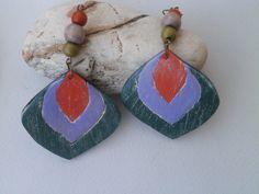 Boho polymer clay earrings violet orange green by Lijoux