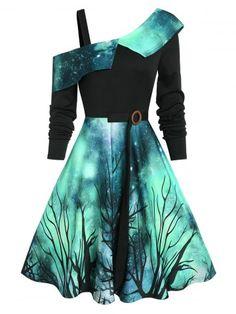 Gothic Dress Starry Sky Pattern Skew Neck Asymmetrical A-Line Dress, Deep Green / L - Jewelry Design Jewelry design 2020 Jewelry Ideas 2020 Teen Fashion Outfits, Mode Outfits, Dress Outfits, Girl Outfits, Fashion Dresses, Dress Shoes, Club Outfits, Men Dress, Shoes Sandals