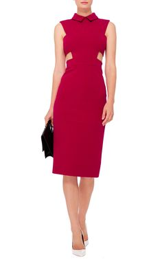Cushnie Et Ochs Red Power Stretch Viscose Dress with Cutouts