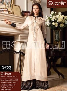 Long off white kurta with intricate gold embroidery by Gulahmed