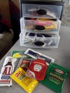 Save all the free condiments you can. Not only are they free, but they take up a lot less space than their full-sized counterparts.   37 RV Hacks That Will Make You A Happy Camper