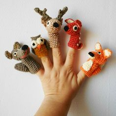 crochet amigurumi finger puppet animals, no pattern Crochet Diy, Crochet Amigurumi, Love Crochet, Crochet For Kids, Amigurumi Patterns, Crochet Crafts, Crochet Dolls, Crochet Projects, Crochet Patterns