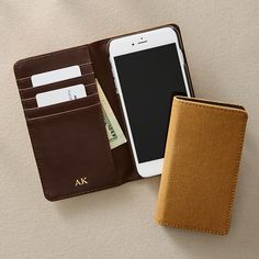 Cleverly designed to protect you from electronic pickpocketing and theft, this RFID blocking wallet combines technical sophistication with classic design. Crafted from genuine leather, this wallet has five slots for holding your cards and cash an… Rfid Blocking Wallet, Rfid Wallet, Iphone Wallet, Iphone 7, Personalized Tote Bags, Personalized Wallets, Personalized Items, Accessories Store, Travel Accessories
