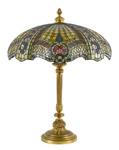 Brass and slag glass table lamp, early 20th century