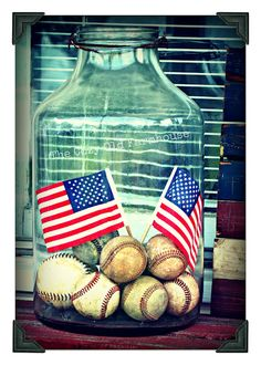 "The Cozy Old ""Farmhouse"": May We Never Forget a perfect way to display Michael's baseballs-- cute for Trace's room 4th Of July Party, Fourth Of July, Patriotic Room, Americana Bedroom, Red White And Boom, Independance Day, Holiday Fun, Holiday Decor, Patriotic Decorations"