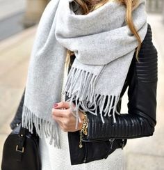 #winter #fashion / light gray scarf + leather