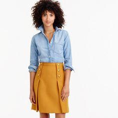 "This A-line skirt features sailor-front detailing with pretty gold buttons. It's also in our beautiful double-serge wool, which has been a customer favorite since 2006, thanks to its more structured, polished feel. <ul><li>Sits at waist.</li><li>19 1/2"" long.</li><li>Falls above knee.</li><li>Wool.</li><li>Back zip.</li><li>Lined.</li><li>Dry clean.</li><li>Import.</li></ul>"
