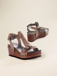 Women's OTBT Caravan Wedge Sandals | Sahalie Proof that walking sandals don't have to look dowdy, OTBT Caravan Wedges bring street-style grommets, studs and buckles to supersoft leather. Even the buckle holes are cool--x's instead of o's.