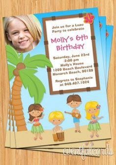 Luau Hula Birthday Party Invitations