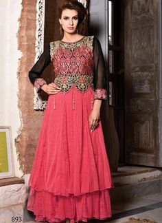 Look beautiful dressed in this black and fuchsia georgette net embroidered gown. The attractive dangler, lace, resham and stones work a significant feature of this gown. Buy Gowns Online, Party Wear Gowns Online, Wedding Gowns Online, Latest Party Wear Gown, Net Gowns, Indian Bridal Fashion, Latest Fashion Design, Online Dress Shopping, Designer Gowns