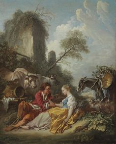François Boucher - La Tendre Pastorale: A pastoral landscape with a shepherd and shepherdess, oil on canvas