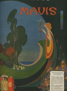 1920 Deco Vivaudou Mavis Talc Magazine Ad..