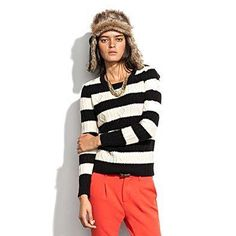 Madewell Striped Cablecrew Sweater