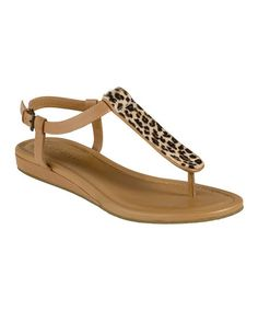 Take a look at this Birch & Leopard Haircalf Molly T-Strap Sandal by Cole Haan on #zulily today!