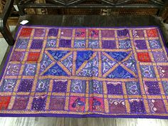 "Vintage Indian Tapestry Sequin Beaded Purple Wall Hanging Sari Sofa Throw 60""x40"" Mogul Interior http://www.amazon.com/dp/B00R41W3LM/ref=cm_sw_r_pi_dp_DMuKub06KMYJD"