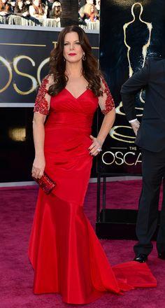 Marcia Gay Harden in a David Meister dress, Swarovski clutch and John Hardy jewelry. #Oscars #Fashion I like her dress too :-)