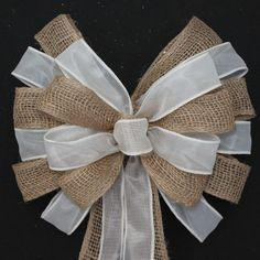 Burlap and Ivory Sheer Wedding Pew Bow by PackagePerfectBows
