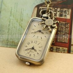 Antique Pocket Watch Necklace Bronze Pendent Dual Time With Sun Charm, via LuckyVicky on Etsy