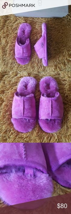 UGG Slippers I am selling a NEW pair of UGG Slippers. They are super cute! Size 5 in Women. They are pink ! Water resistant suede... Feel free to ask any questions.. Cheaper thru mercarii. #57 UGG Shoes Slippers