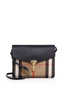 BURBERRY Macken Small House Check & Leather Crossbody Bag. #burberry #bags #shoulder bags #lining #cotton #crossbody #suede #