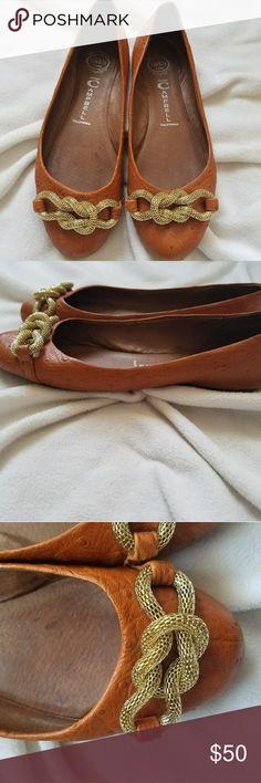 Jeffrey Campbell Ostrich Flats Jeffrey Campbell Ostrich Flats with gold chain Jeffrey Campbell Shoes Flats & Loafers