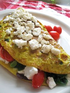 Greek Omelette -  spinach, tomatoes, Kalamata olives, oregano & Feta
