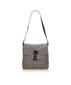 8abf57c3ab89 FENDI PRE-OWNED  ZUCCHINO JACQUARD SHOULDER BAG.  fendi  bags  shoulder bags   leather