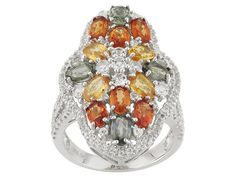 4.30ctw Oval Multi Sapphire And 1.42ctw Round White Topaz Sterling Sil
