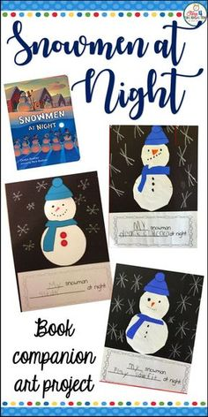 Snowmen at Night writing craft art project. Create a writing book project after reading the book with your class. Inspire your students to imagine what Snowmen do at night. Use the writing prompt and art templates to create a fun and festive winter themed bulletin board display.