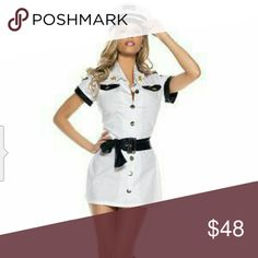 All Aboard Pilot costume All Aboard Pilot costume -   This charming pilot costume includes button up dress, hat and belt. Boots sold separately.  Size(s): Small/Medium(4-6),  Medium/Large(8-12).  Color(s): white/black. bewicked  Dresses Mini