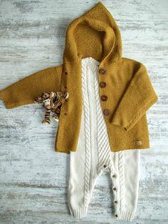 Handmade Toddler Alpaca Sweater / Toddler Sweater / Toddler Knitted Coat / Knitted Baby Coat / Mustard Sweater / Boy or Girl Mustard Sweater