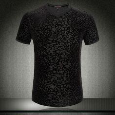 2015 negro amarillo de la flor del verano camisetas hombres terciopelo con cuello en v Fashion T shirt de manga corta para del ajuste delgado de moda del Club Outfit día del padre en Camisetas de Moda y Complementos Hombre en AliExpress.com | Alibaba Group